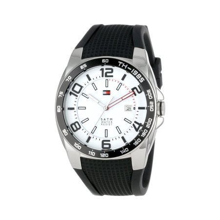 Tommy Hilfiger Men's Sports Silicon Strap Analog Quartz Watch - White & Black - 1790884