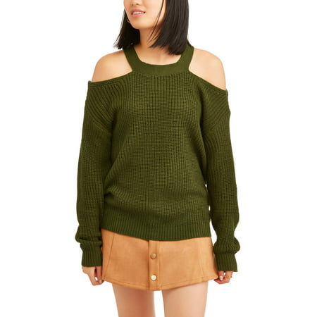 a095b449db5338 Poof - Juniors  Rib Knit Cold Shoulder Cut-Out Long Sleeve Sweater ...