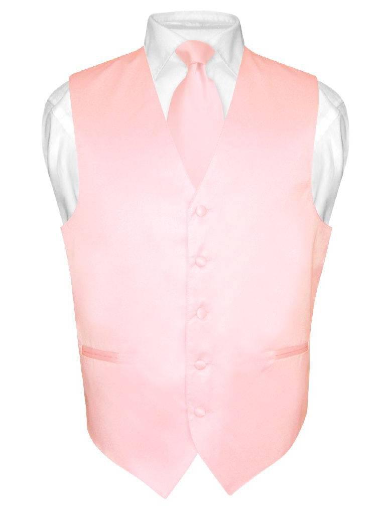 Men's Dress Vest & NeckTie Solid PINK Color Neck Tie Set for Suit or Tuxedo