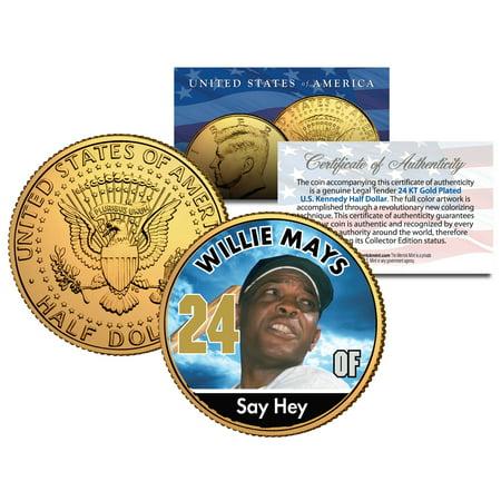 WILLIE MAYS * Baseball Legends * JFK Kennedy Half Dollar 24K Gold Plated US