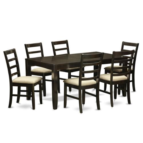 east west furniture lypf7 cap 6 chair 7 piece dining room
