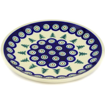 (Polish Pottery 7½-inch Dessert Plate (Peacock Evergreen Theme) Hand Painted in Boleslawiec, Poland + Certificate of Authenticity)