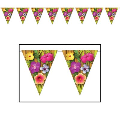Colorful Pennant Banner (Pack of 12 Colorful Hawaiian Tropical Flower Luau Party Decoration Pennant Banners)