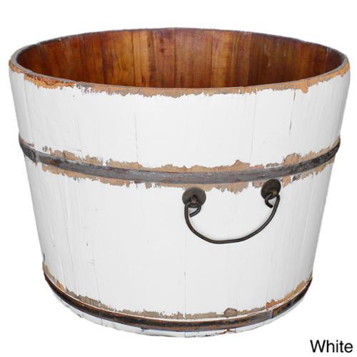 Wooden Rice Bucket White