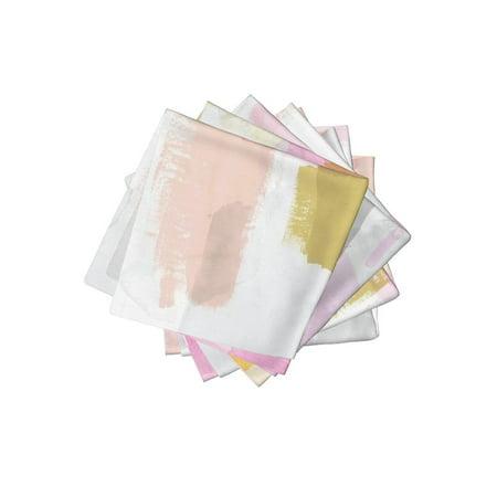 Cocktail Napkins Modern Abstract Art Mustard Yellow Blush Pink Set of 4 - Blush Paper Napkins
