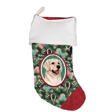 White And Gold Christmas Stockings (Golden Retriever White - Best of Breed Dog Breed Christmas)