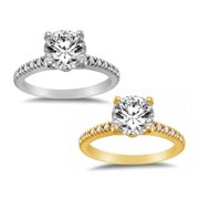 Dimaya 14k Yellow or White Solid Gold 1 1/4 ct TGW Round-Cut Cubic Zirconia Pave Engagement Ring
