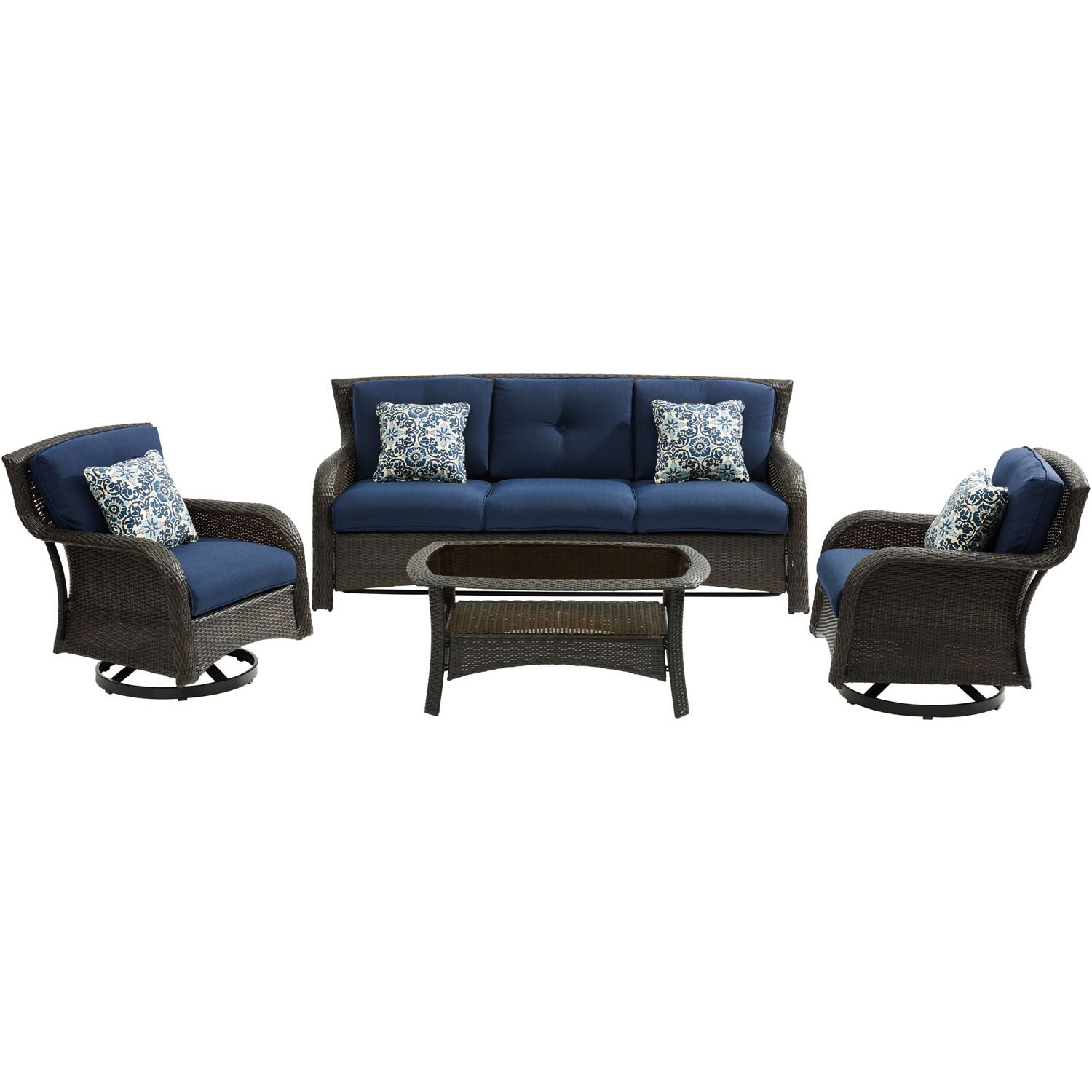 Hanover Strathmere 4-Piece Lounge Set in Navy Blue