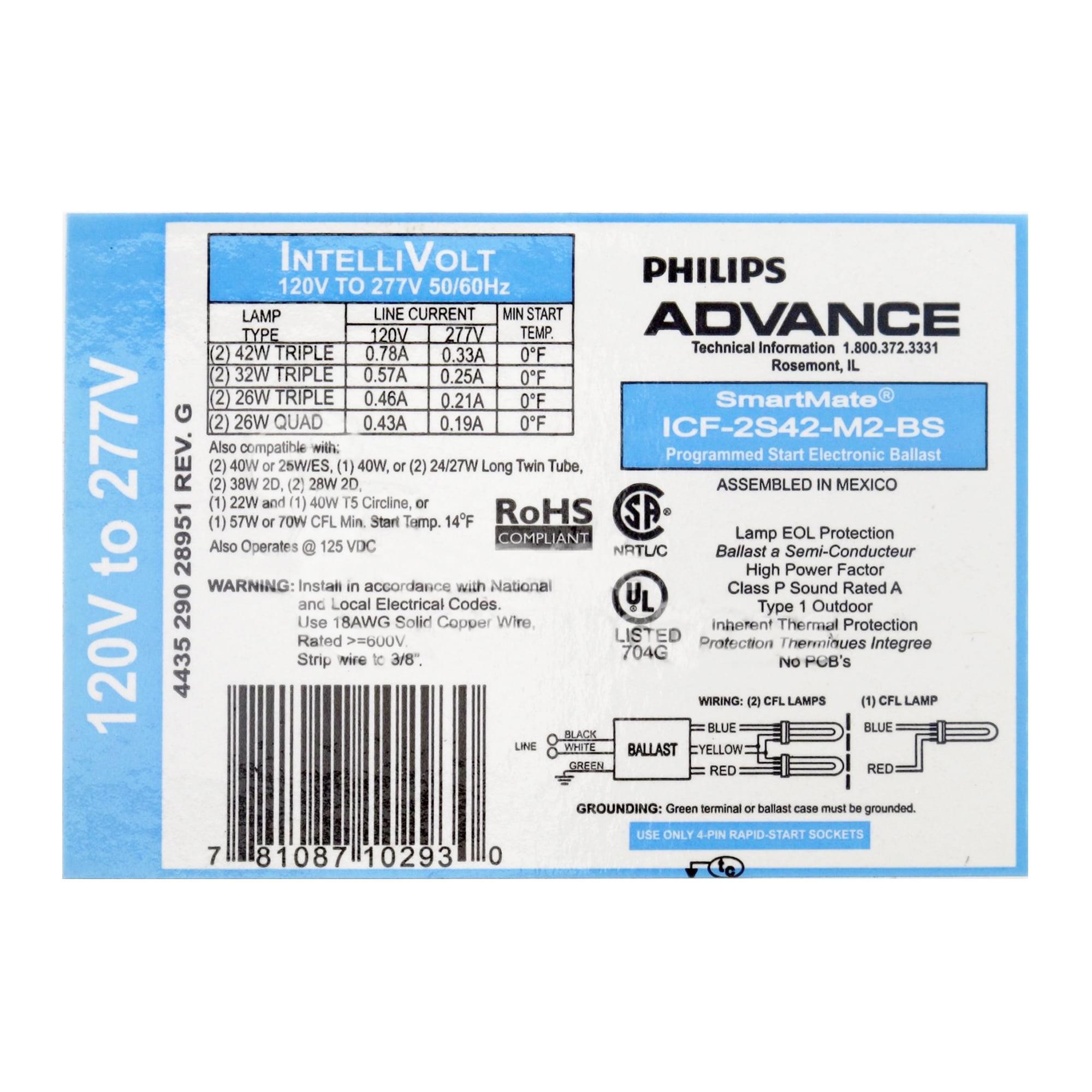 Philips Advance ICF-2S42-M2-BS Compact Fluorescent Ballast, 120/277V, 42W Triple