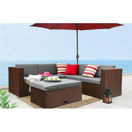 Baner Garden Outdoor Furniture Complete Patio Cushion PE Wicker Rattan Garden Corner Sofa Couch Set, Brown, 4 Pieces (Corner Couch Set)