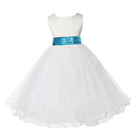 457bb98838 Ekidsbridal Ivory Tulle Rattail Edge Sequin Sash Formal Toddler Flower Girl  Dresses Special Occasion Dresses Wedding Tulle Dresses Junior Bridesmaid ...