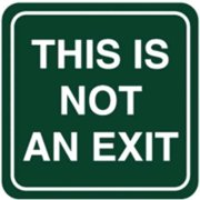 INTERSIGN 62191-1 BLACK No Exit Sign, 5-1/2 x 5-1/2In, WHT/BK, ENG