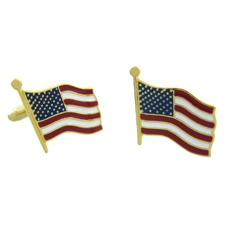 Gold Plated American Flag Cufflinks