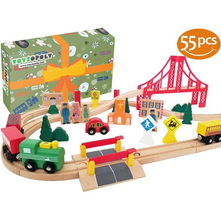 Deluxe Wooden Train Set - Wooden Train Tracks Full Set, Deluxe 55 Pcs with 3 Destination Fits Thomas, Brio, IKEA, Chuggington, Imaginarium, Melissa and Doug