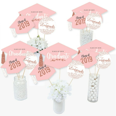 Rose Gold Grad - 2019 Graduation Party Centerpiece Sticks - Table Toppers - Set of 15 - Styrofoam Graduation Centerpieces