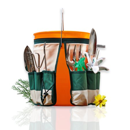 - GardenHOME Garden Bucket Tool Organizer - 5 Gallon Bucket Caddy Apron with 10 Deep Pockets For Carrying Gardening Tools