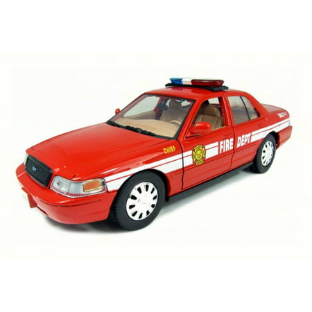 - 2007 Ford Crown Victoria Fire Chief, Red w/ White Stripes - Motor Max 76458 - 1/24 Scale Diecast Model Toy Car