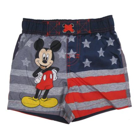 1861742c96 Disney - Baby Boys Navy Gray American Flag Mickey Mouse Swim Shorts 24M -  Walmart.com