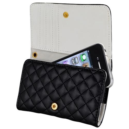 Insten Black Leather Wallet Case Cover For iPhone 3G 3GS 4 4S 5 5S 5C HTC Inspire 4G myTouch 4G Rhyme Radar