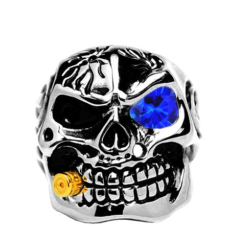 Casted Stainless Steel Skull Biker Ring with Simulated Sapphire Color Cubic Zirconia & - Plastic Skull Rings