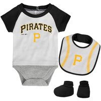 Pittsburgh Pirates Newborn Baseball Kid Bodysuit, Bib & Booties Set - White