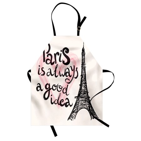 (Eiffel Tower Apron Lettering in Heart Modern Europe Dream Tour Artful Sketch Illustration, Unisex Kitchen Bib Apron with Adjustable Neck for Cooking Baking Gardening, Cream Pink Black, by Ambesonne)