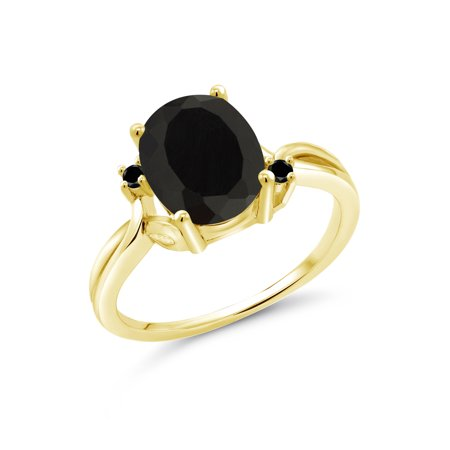 2.53 Ct Oval Black Onyx Black Diamond 18K Yellow Gold Plated Silver Ring