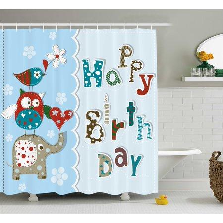 Birthday Decorations For Kids Shower Curtain Patchwork Inspired Owl Birds Elephant Flowers Fabric Bathroom