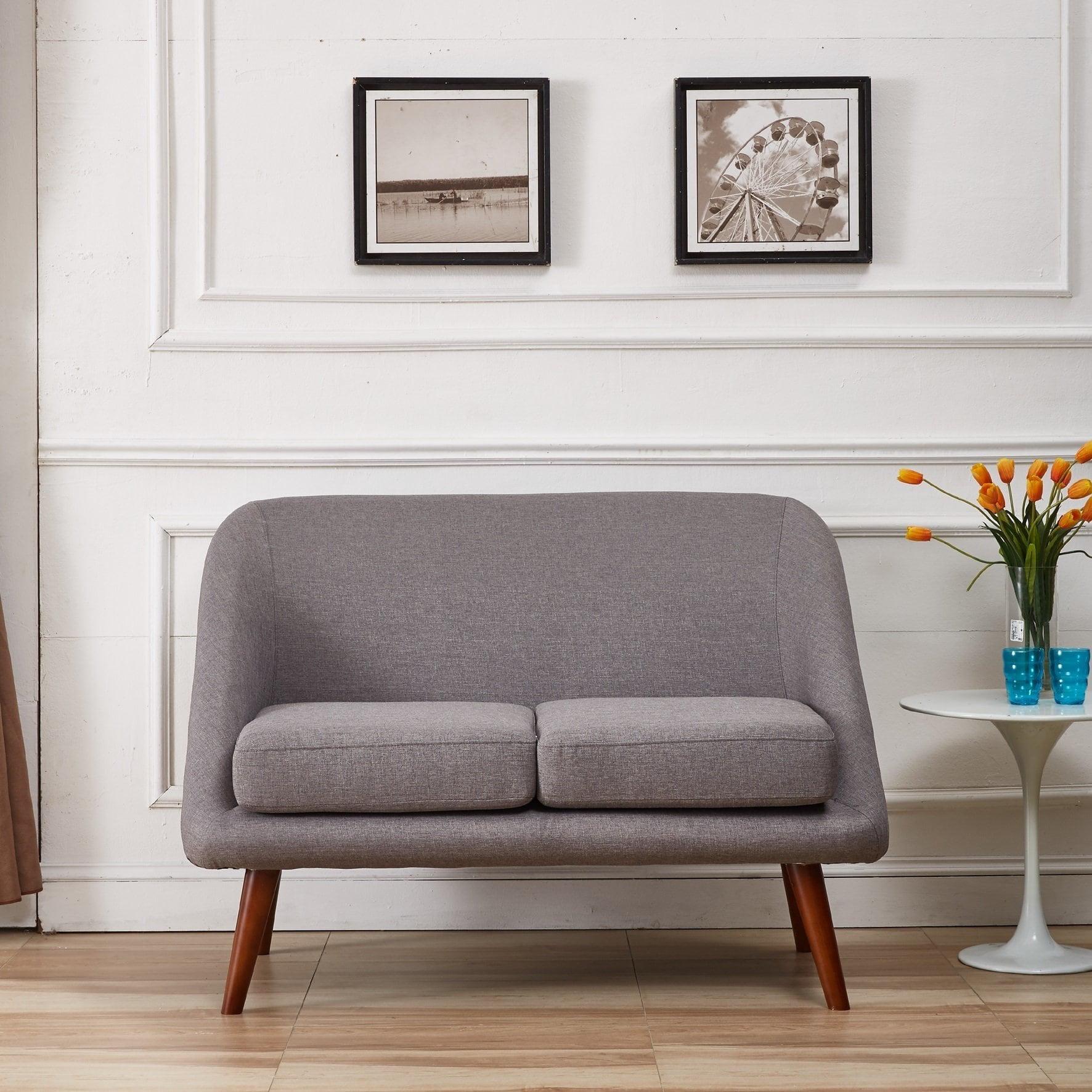US Pride Furniture Mid-Century Modern Style Linen Fabric Loveseat