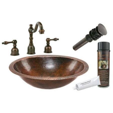 Premier Copper Products Under Counter Hammered Bathroom Sink