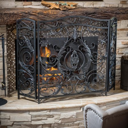 Admirable Hayward 3 Panel Iron Fireplace Screen Home Interior And Landscaping Ologienasavecom