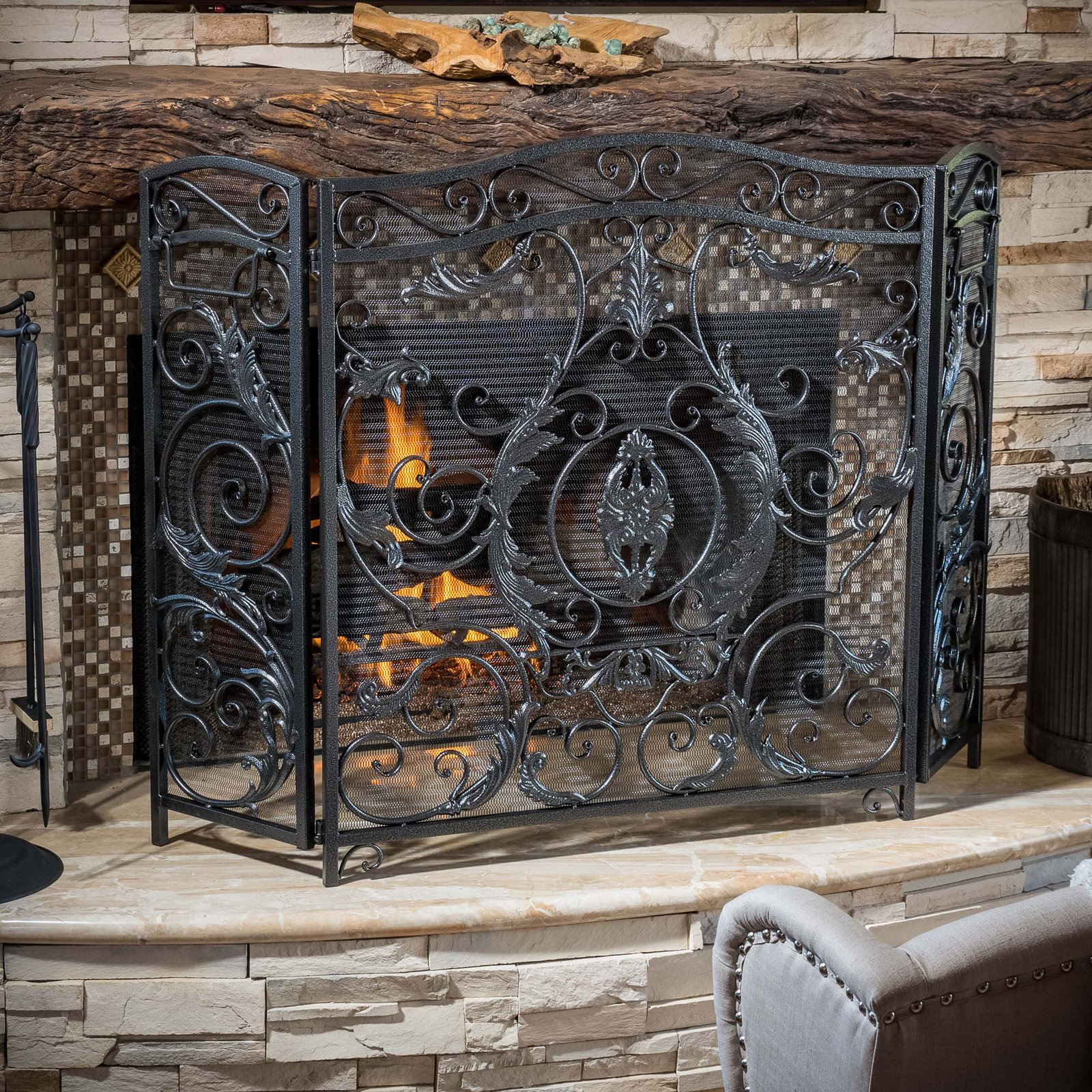 Hayward 3 Panel Iron Fireplace Screen