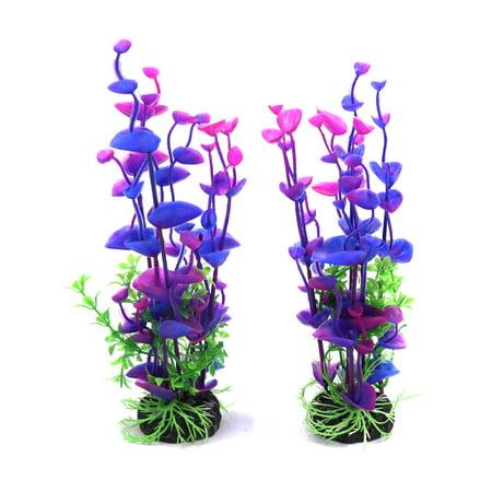 2pcs Purple Plastic Plant Aquarium Fishbowl Underwater Decoration Ornament