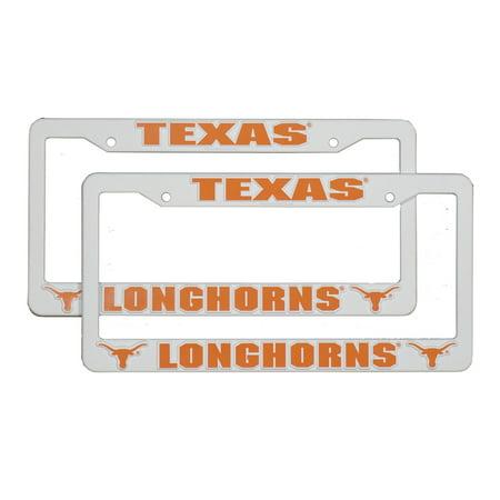 Texas Longhorns NCAA Raised Letter White Plastic License Plate Frame Set