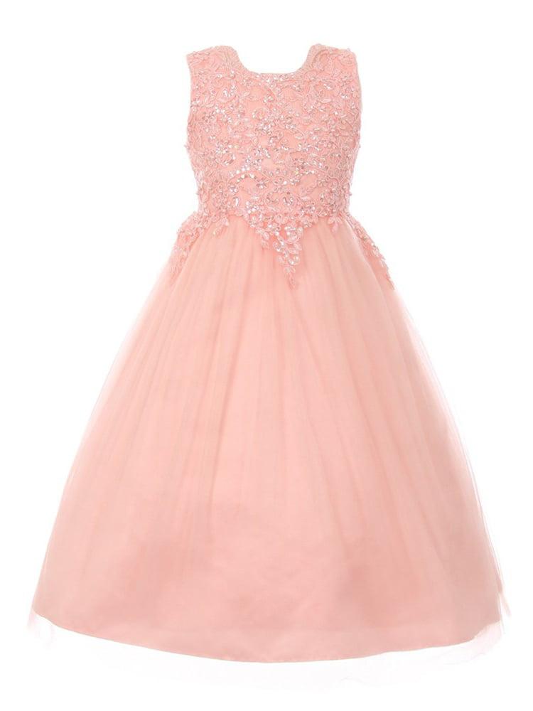 Girls Blush Pink Pearl Sequin Tulle Satin Junior Bridesmaid Dress