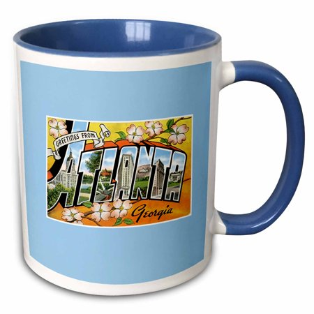3dRose Greetings from Atlanta Georgia Bold Letters With Scenes of the City - Two Tone Blue Mug, 11-ounce