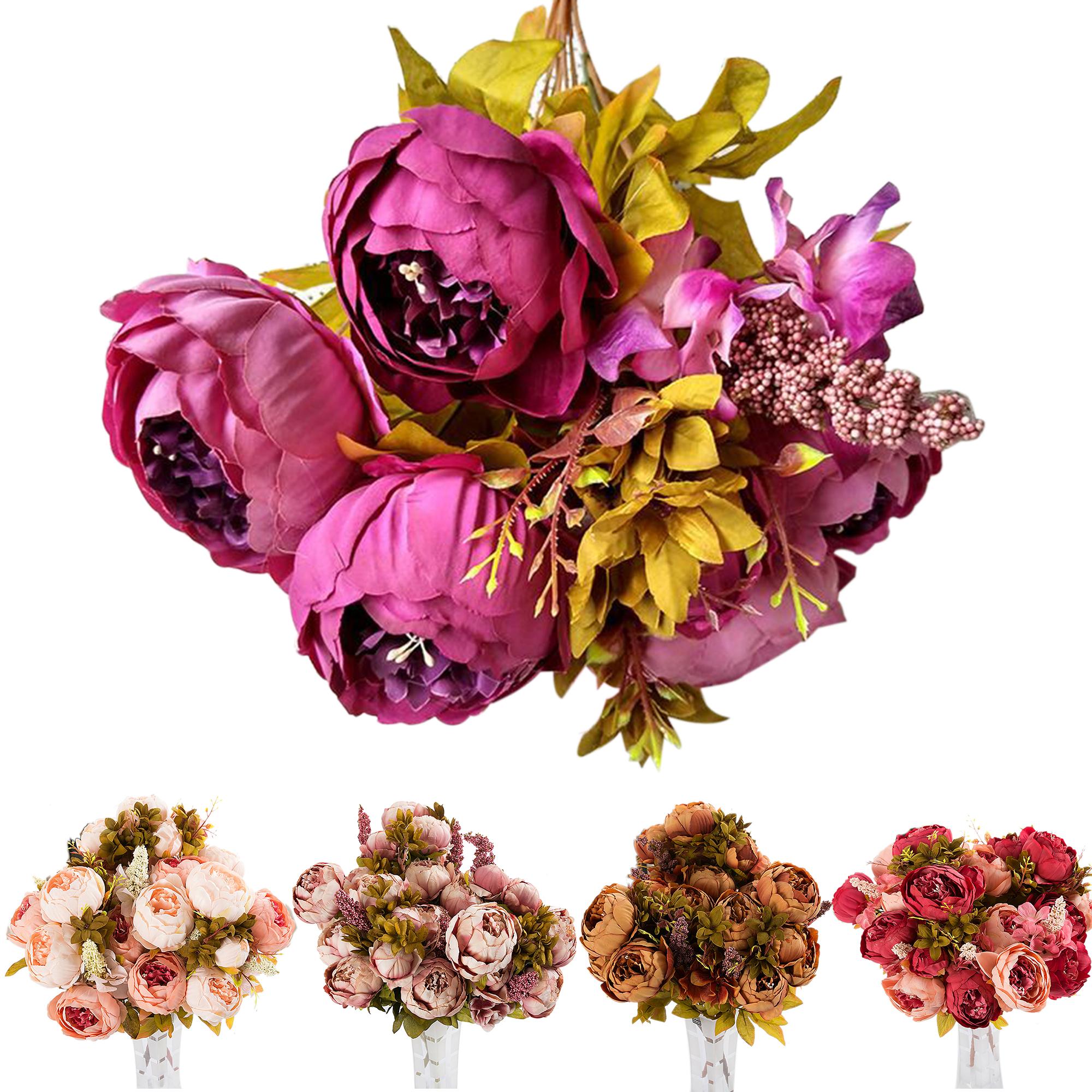 CUH Artificial Peony Arrangement Bouquet European for Bedding Wedding Office Living Room Meeting Room Garden Floral