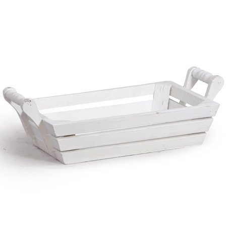 White Rectangular Wood Tray With Side Handles Small 9in