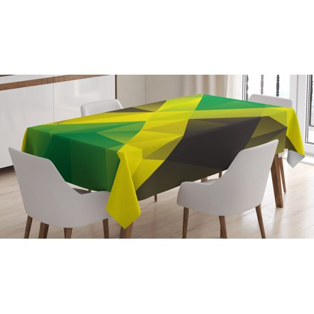 Jamaican Tablecloth Triangular Polygon Design Abstract Flag Geometric National Symbol Rectangular Table Cover For