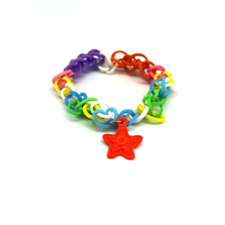 Orange Starfish Charm With Rainbow Loom Rubber Band Bracelet](Rubber Band Charms Halloween)