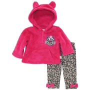 Duck Goose Baby Girls' Owl Sherpa Ear Hoodie 2 Piece Pant Outfit Set