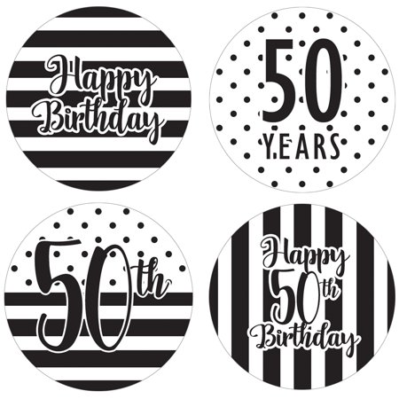50th Birthday Party Favor Labels, 60ct - Black and White Stripe and Polka Dot Birthday Party Supplies - 60 Count Happy Birthday Stickers (1 3/4 inch)