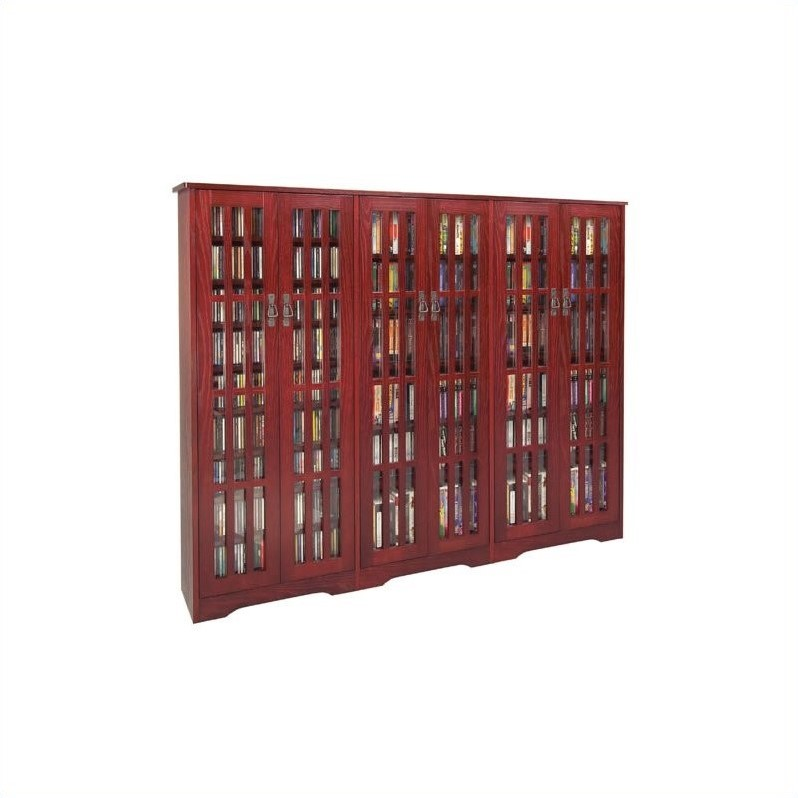Leslie Dame Inlaid Glass Mission Multimedia Cabinet in Dark Cherry