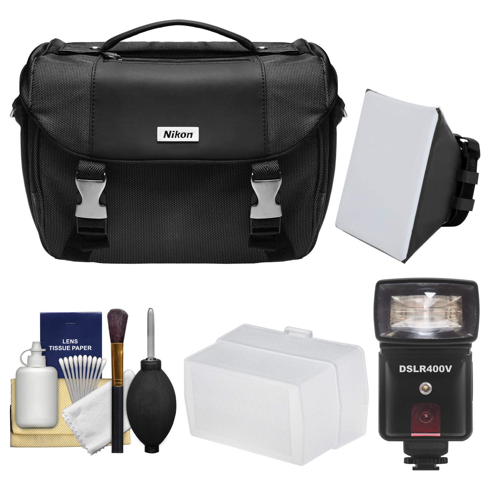Nikon Deluxe Digital SLR Camera Case Bag with LED Video Light & Flash + SoftBox + Diffuser Kit for D7200, D7500, D5500, D5600, D3300, D3400