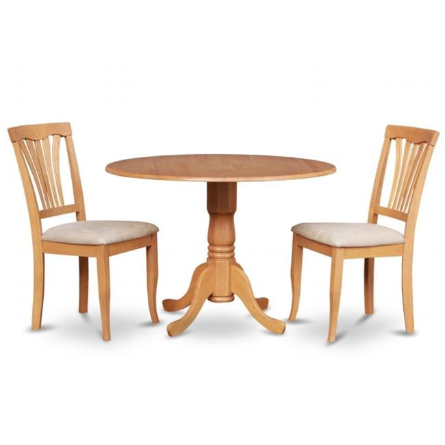East West Furniture DLAV3-OAK-C 3PC Kitchen Round Table with 2 Drop Leaves and 2 Chairs with Microfiber Upholstered Seat