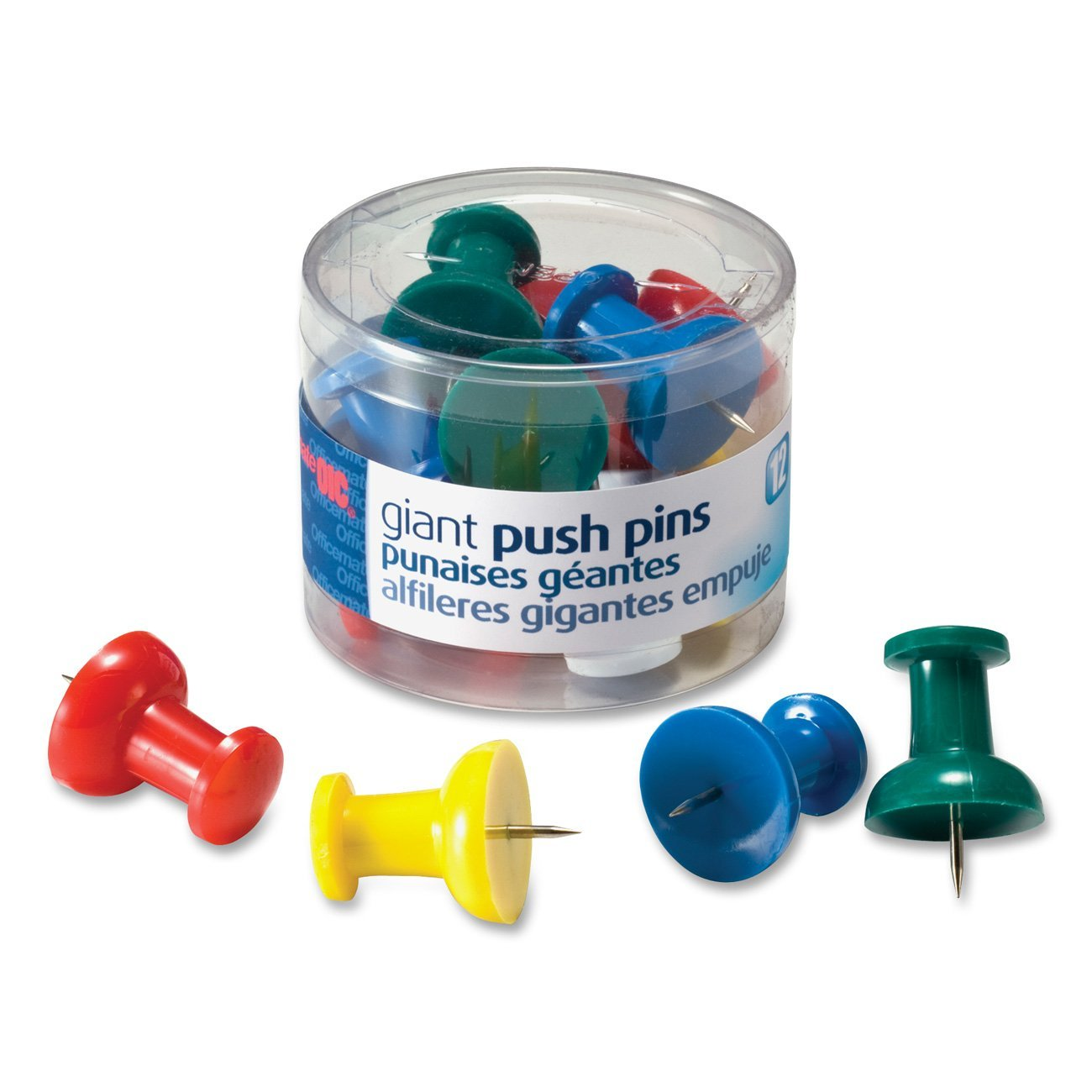 giant push pins 1 5 inch assorted colors tub of 12 92902