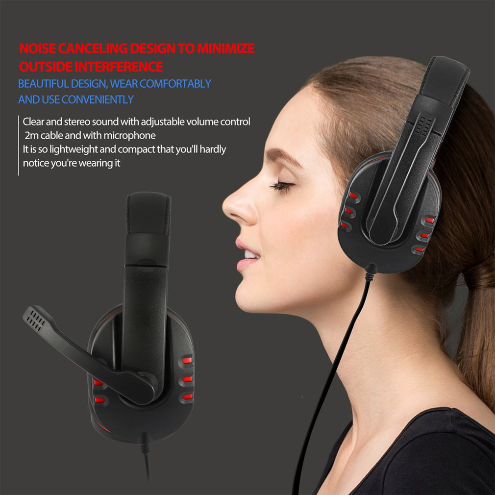 Adjustable Volume Control USB Wired Stereo Micphone Headphone Mic Headset for Sony for PS3 PC Game