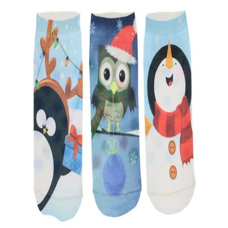 LaDeDa Women's Christmas Footie Socks, (3Pr), Snowman, Owl, Penguin