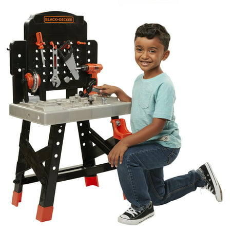 Black & Decker Power N Play Workbench - Play Toy Workshop for Kids with working Miter Saw includes 50 Realistic Toy Tools and Accessories