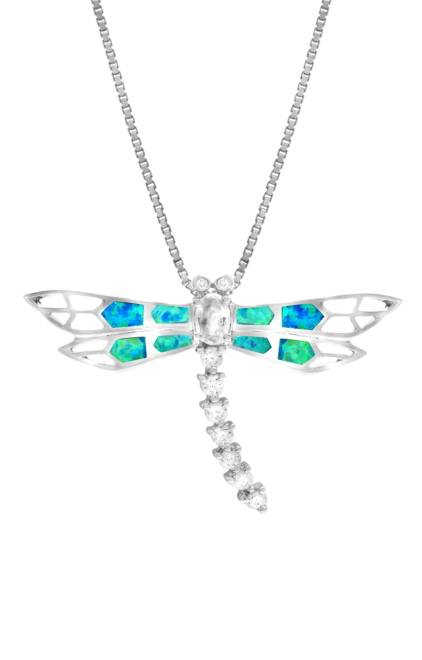 """Sterling Silver Dragonfly Cubic Zirconia Accented Necklace Pendant with Synthetic Blue Opal and 18"""" Box Chain by"""